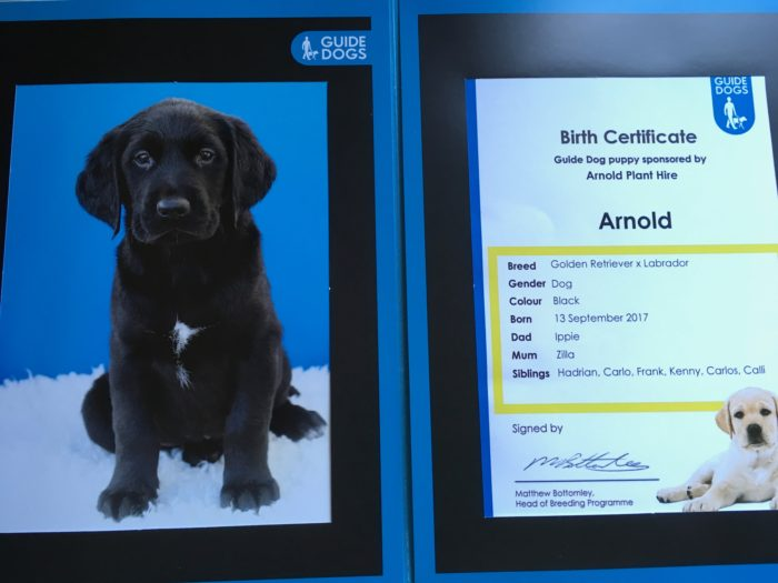 "Our Guide Dog has arrived – ""Arnold"""